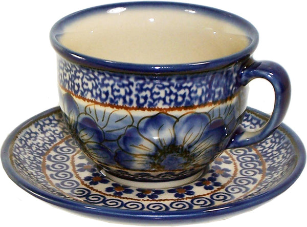 "Boleslawiec Polish Pottery UNIKAT Cup and Saucer ""Blue Garden"""