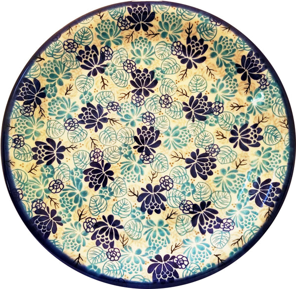 "Boleslawiec Polish Pottery 10"" Dinner Plate Unikat ""Lotus Symphony"" by Eva's Collection"