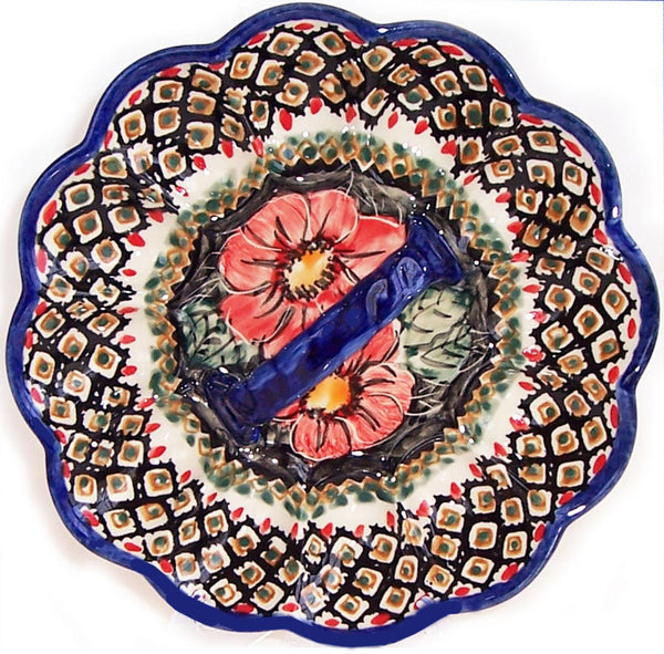 "Boleslawiec Polish Pottery UNIKAT Egg Serving Plate ""Red Garden"""