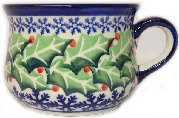 "Boleslawiec Polish Pottery Expresso Cup ""Holly"""