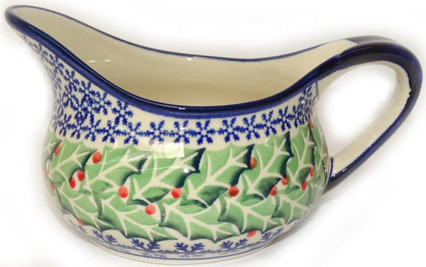 "Boleslawiec Polish Pottery Christmas Gravy Boat ""Holly"""