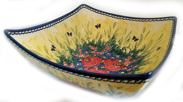 "Boleslawiec Polish Pottery Unikat Large Serving Bowl ""Wild Roses"""