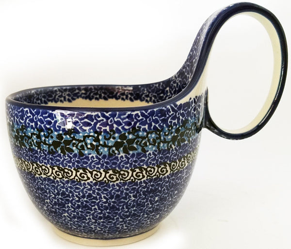 Boleslawiec Polish Pottery Bowl with Loop Handle CA 1514