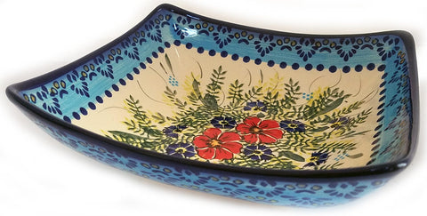Boleslawiec Polish Pottery Unikat Medium Square Serving Bowl