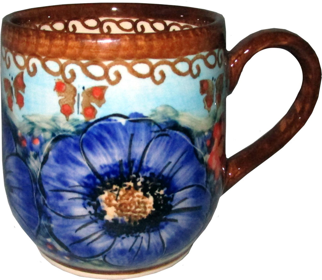 "Boleslawiec Polish Pottery UNIKAT Coffee or Tea Ladies Mug 10 oz ""Blue Sky Meadow"""