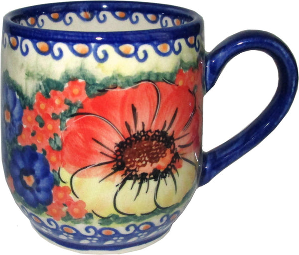 "Boleslawiec Polish Pottery UNIKAT Coffee or Tea Ladies Mug 10 oz ""Flower Field"""
