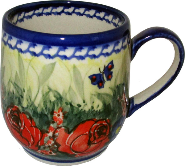 "Boleslawiec Polish Pottery UNIKAT Coffee or Tea Ladies Mug 10 oz ""Wild Roses"""