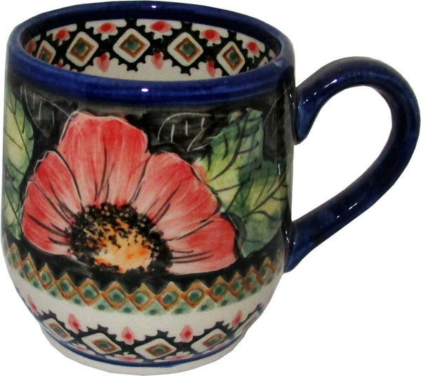 "Boleslawiec Polish Pottery UNIKAT Ladies Mug 10 Oz ""Red Garden"""