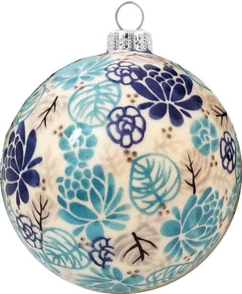 "Boleslawiec Polish Pottery UNIKAT Christmas Ornament ""Lotus Symphony"""