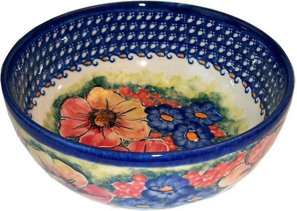 "Boleslawiec Polish Pottery UNIKAT Pasta or Soup Serving Bowl ""Flower Field"""