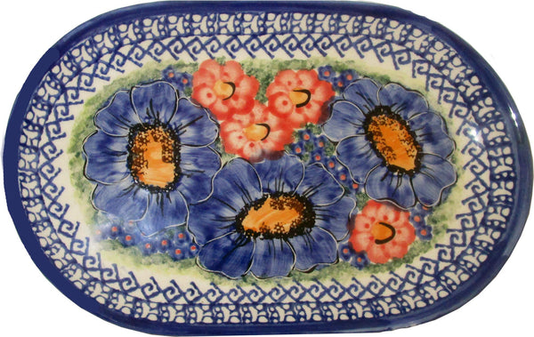 "Boleslawiec Polish Pottery UNIKAT Serving Platter 9.25"" long ""Isabelle"""