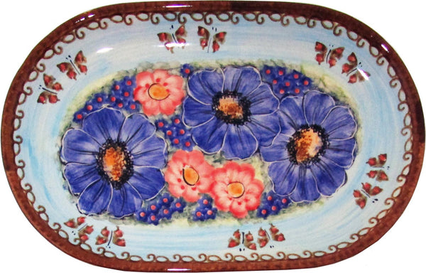 "Boleslawiec Polish Pottery UNIKAT Serving Platter 9.25"" long ""Blue Sky Meadow"""