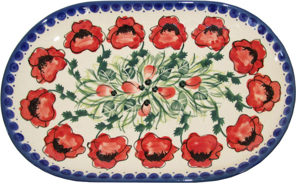 "Boleslawiec Polish Pottery UNIKAT Serving Platter 9.25"" long ""Poppy Field"""