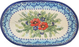 "Boleslawiec Polish Pottery UNIKAT Serving Platter 9.25"" long ""Veronica"""