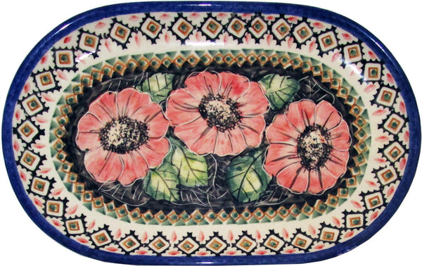 "Boleslawiec Polish Pottery UNIKAT Serving Platter 9.25"" long ""Red Garden"""