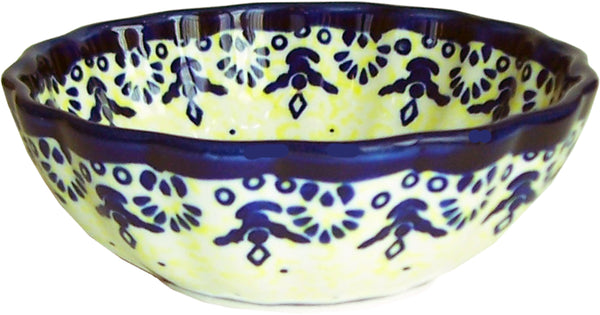 "Boleslawiec Polish Pottery UNIKAT Ice Cream Scalloped Bowl ""Lace"""