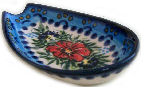 "Boleslawiec Polish Pottery UNIKAT Spoon Rest ""Veronica"""