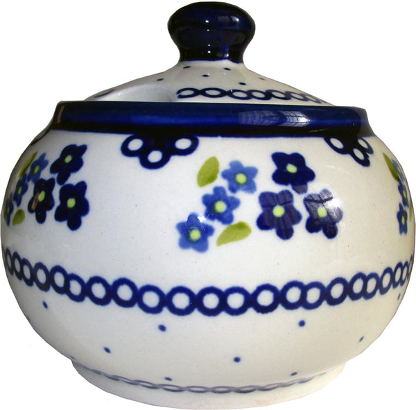 "Boleslawiec Polish Pottery UNIKAT Sugar Bowl ""Forget Me Not"""