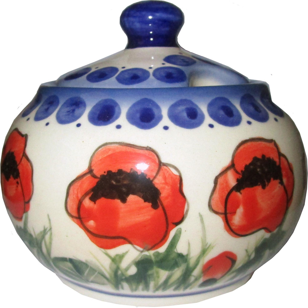 "Boleslawiec Polish Pottery UNIKAT Sugar Bowl ""Poppy Field"""