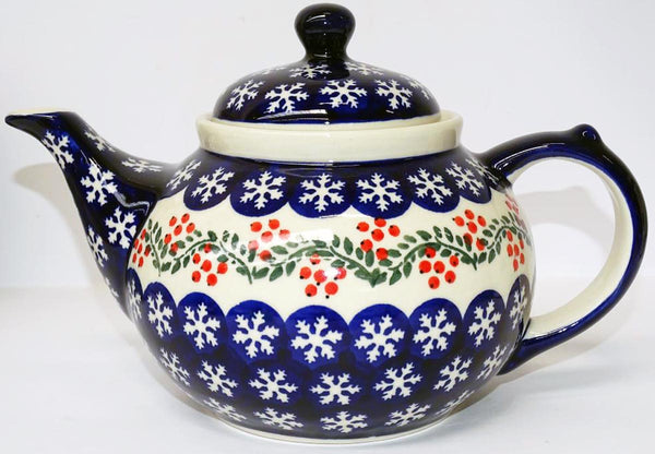 "Boleslawiec Stoneware Polish Pottery UNIKAT Teapot Coffee Pot ""Red Berries"""