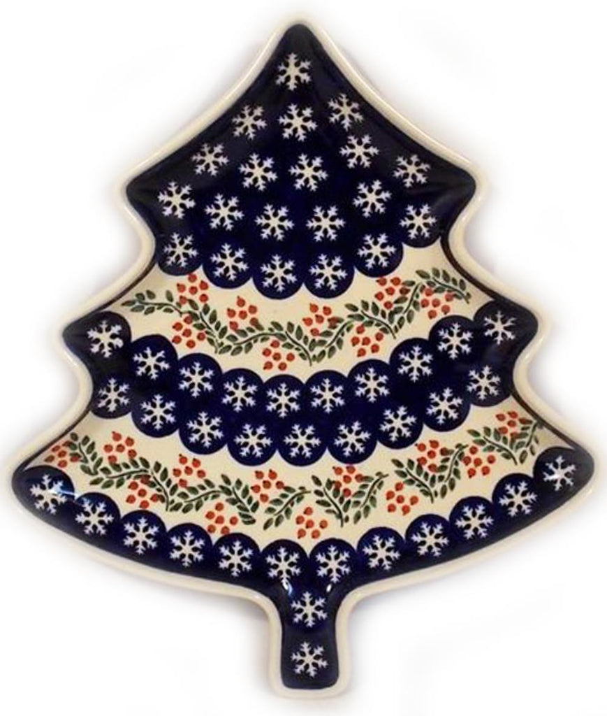 "Boleslawiec Polish Pottery Christmas Tree Shape Serving Plate ""Red Berries"""""