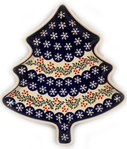 Boleslawiec Polish Pottery Christmas Tree Shape Serving Plate