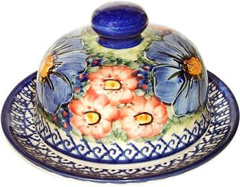 Boleslawiec Polish Pottery UNIKAT Covered Cheese or Butter Dish