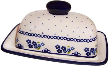 Polish Pottery American Style Butter DishForget-Me-Not