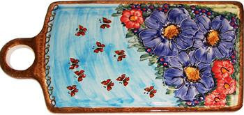 Polish Pottery Cutting or Cheese BoardBlue Sky Meadow