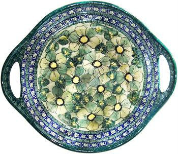 Round Serving Bowl with HandlesGreen Garden