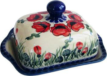 Polish Pottery Butter DishPoppy Field