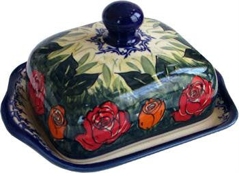 Polish Pottery Butter DishRose Garden