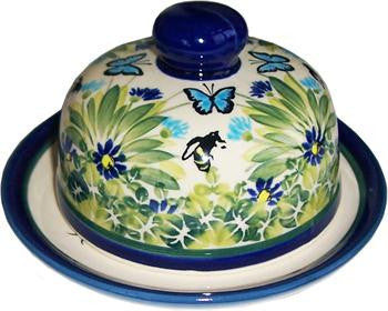 Polish Pottery Covered Butter or Cheese DishSerenity