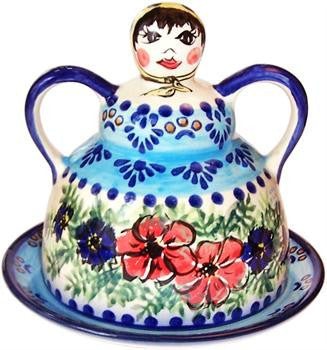 Boleslawiec Polish Pottery UNIKAT Cheese Lady Butter Dish Garlic Baker