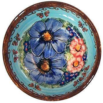 Polish Pottery Ice Cream Bowl Blue Sky Meadow