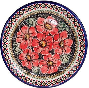 Polish Pottery Dinner PlateRed Garden