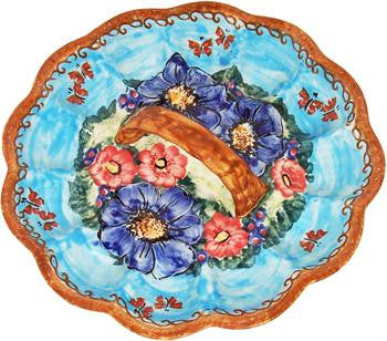 Polish Pottery Egg PlateBlue Sky Meadow