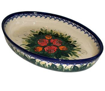 Large Oval Serving DishRose Garden