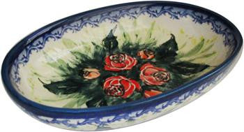 Polish Pottery Small Oval Baking DishRose Garden