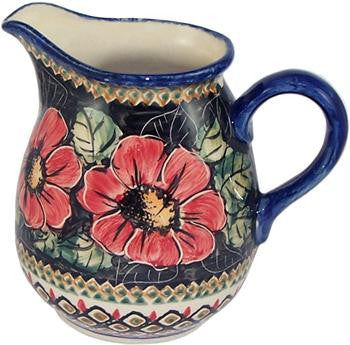 Polish Pottery 1L Pitcher Water JugRed Garden