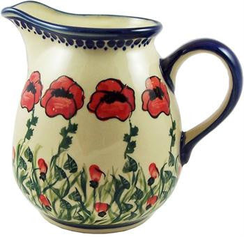 Polish Pottery 1L Pitcher Water JugPoppy Field