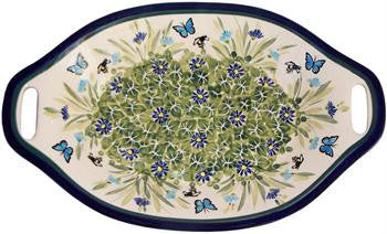 Polish Pottery Serving or Baking Dish with HandlesSerenity