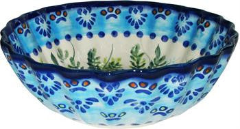 Polish Pottery Medium Scalloped BowlVeronica