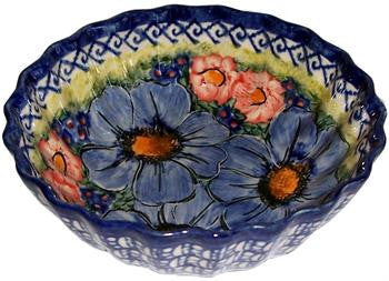 Boleslawiec Polish Pottery UNIKAT Medium Scalloped Bow