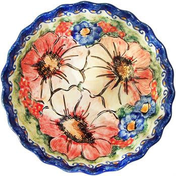 Medium Scalloped BowlFlower Field