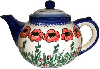 Polish Pottery Tea PotPoppy Field