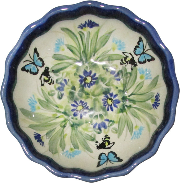 "Boleslawiec Polish Pottery UNIKAT Ice Cream Scalloped Bowl ""Serenity"""