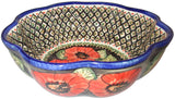 "Boleslawiec Polish Pottery UNIKAT Large Scalloped Bowl ""Red Garden"""
