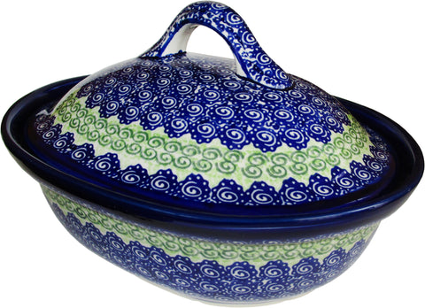 Boleslawiec Polish Pottery UNIKAT Oval Baker with Cover