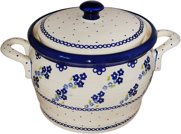 "Boleslawiec Polish Pottery UNIKAT Bean Pot ""Forget Me Not"""